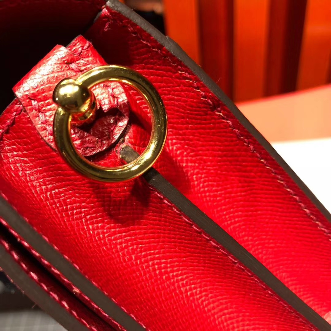 Hermes Roulis19CM 爱马仕Q5国旗红Epsom掌纹牛皮猪鼻子包斜挎女包 金扣