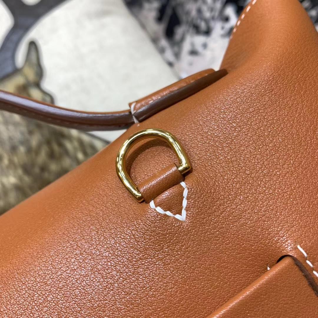 爱马仕新款包包 Hermes金棕色Swift牛皮新款凯莉包Kelly24-24 金扣