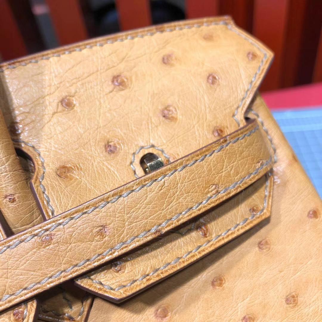 爱马仕铂金包价格 Hermes Birkin25CM 琥珀黄南非鸵鸟皮 金扣