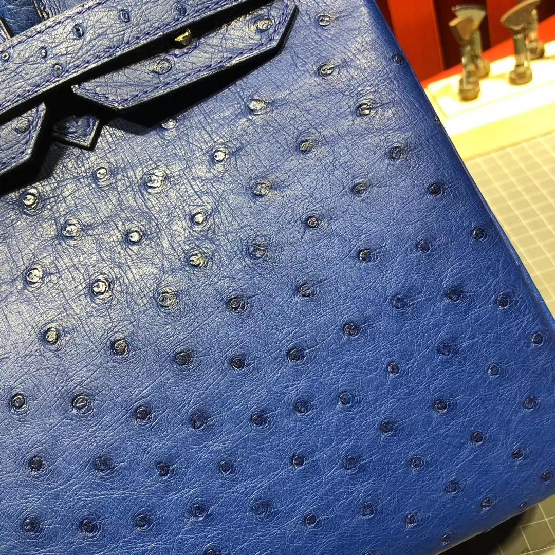 广州白云皮具城 Hermes Birkin30CM 7T电光蓝顶级KK鸵鸟皮铂金包 金扣