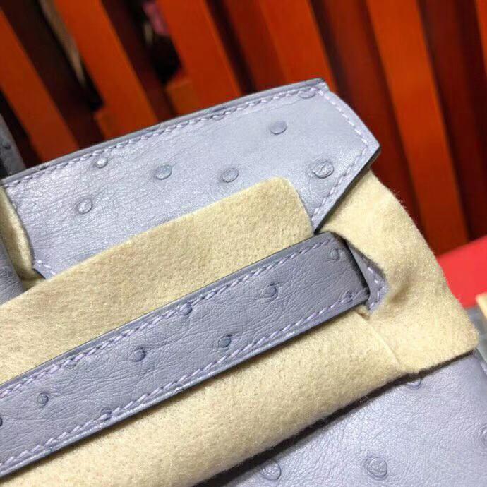 爱马仕女包价格 Hermes南非顶级鸵鸟皮铂金包Birkin30CM 9P薰衣草紫 金扣