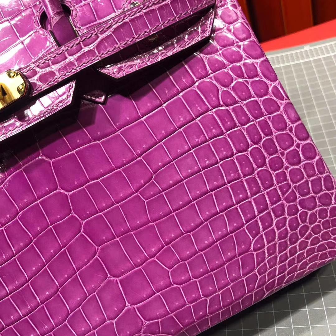 Hermes包包官网 爱马仕水晶紫Hcp亮面尼罗鳄鱼皮铂金包Birkin25CM 金扣