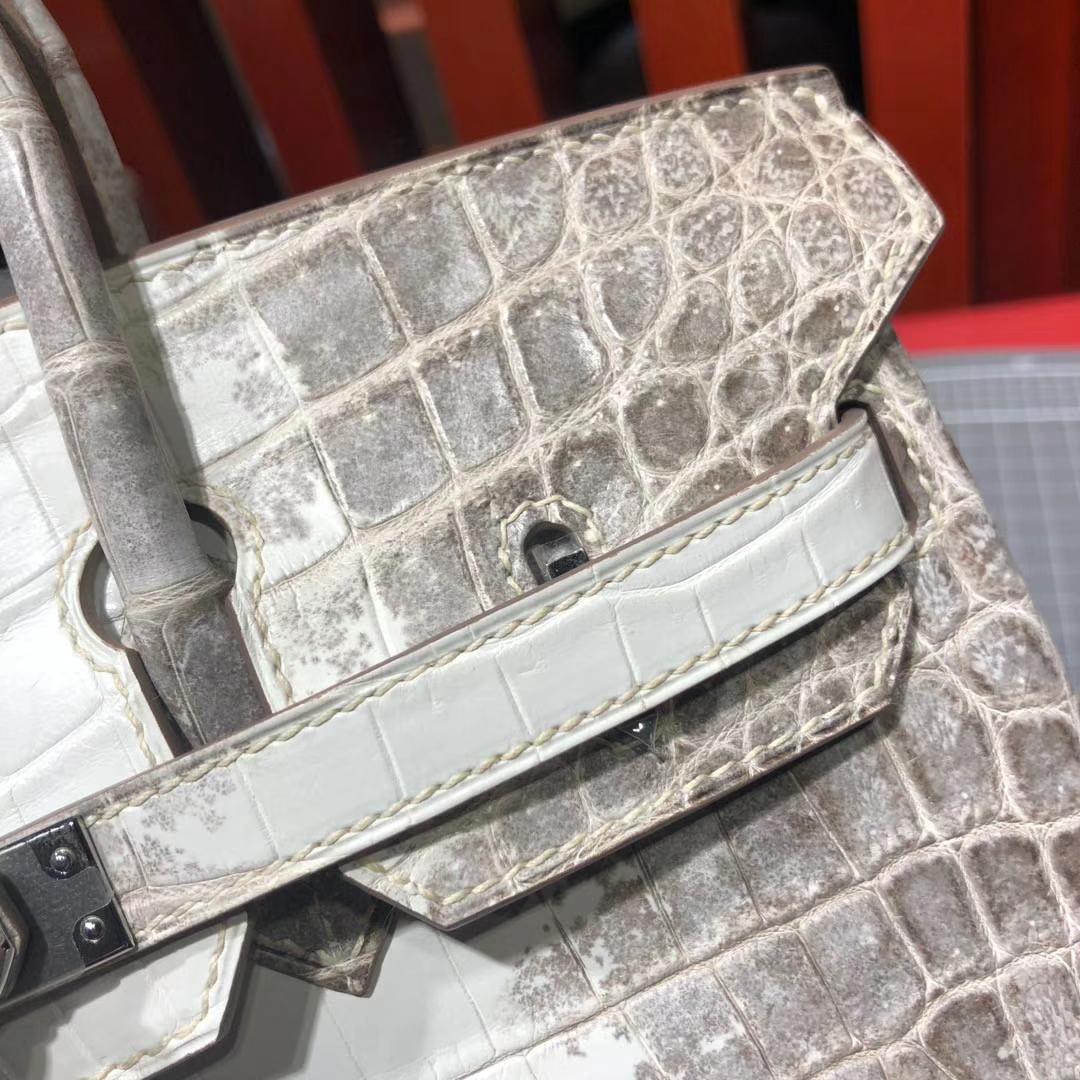 爱马仕包包定制 Hermes法国喜马拉雅鳄鱼皮铂金包Birkin25CM 银扣
