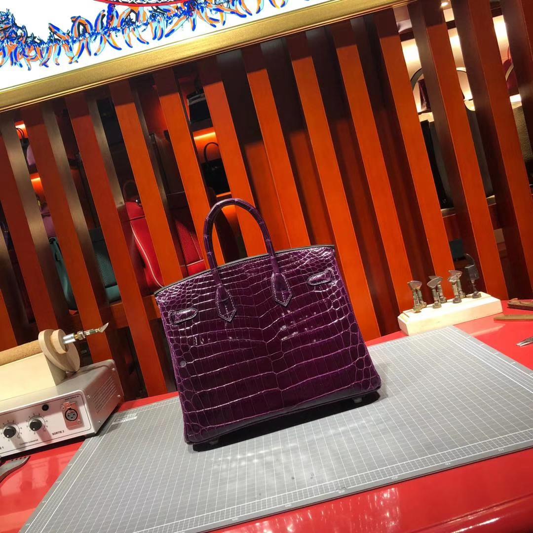 爱马仕铂金包尺寸 Hermes Birkin25CM 葡萄紫法国亮面鳄鱼皮 金扣