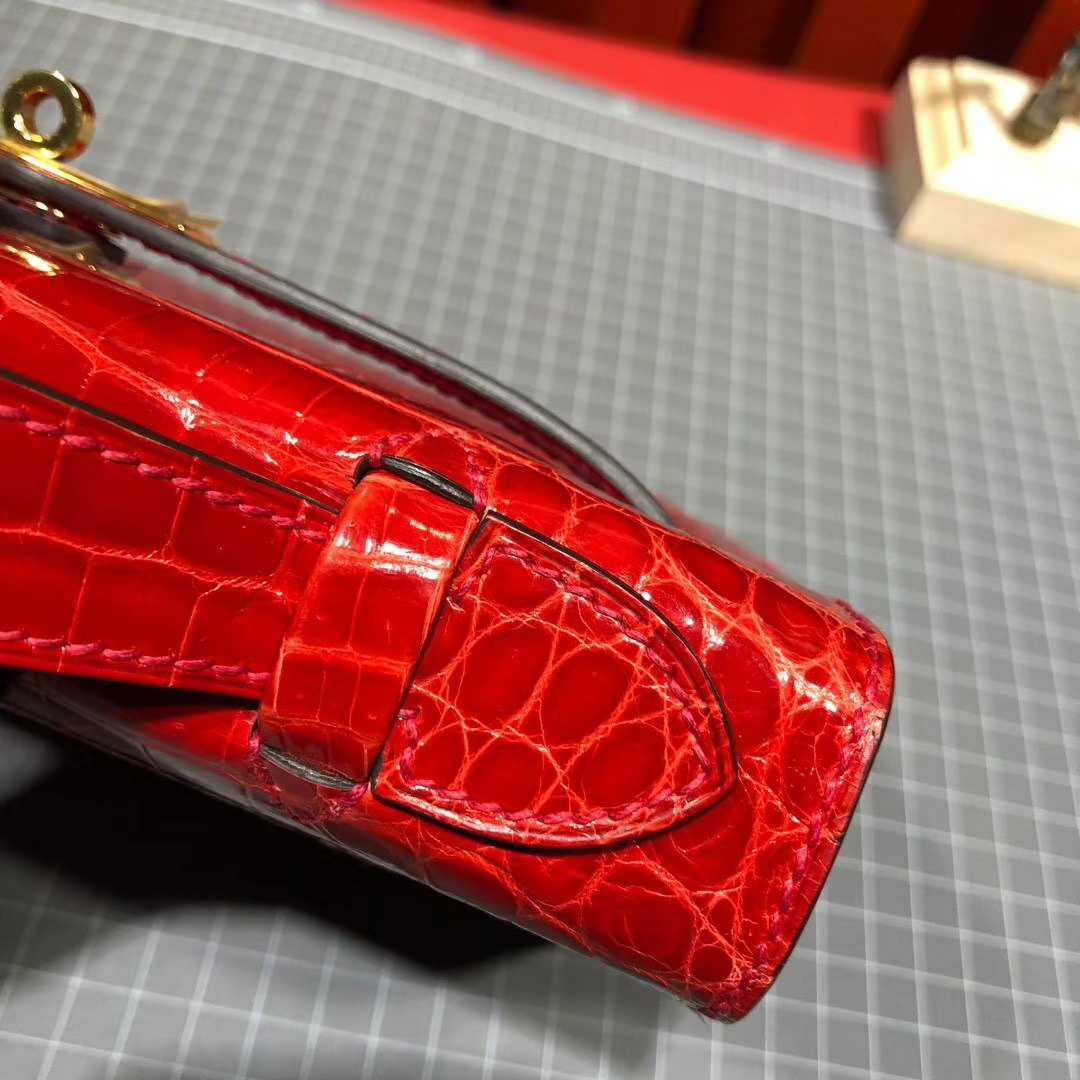 爱马仕鳄鱼皮手包 Hermes Minikelly22CM 法拉利红美洲鳄鱼皮迷你凯莉包 金扣