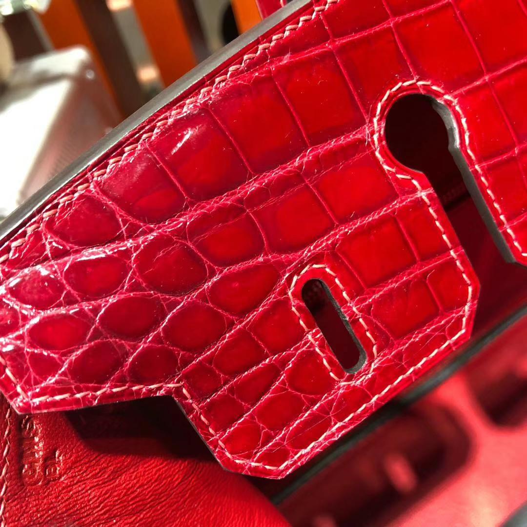 Hermes Birkin25CM 爱马仕法国亮面尼罗鳄鱼皮铂金包 法拉利红 银扣