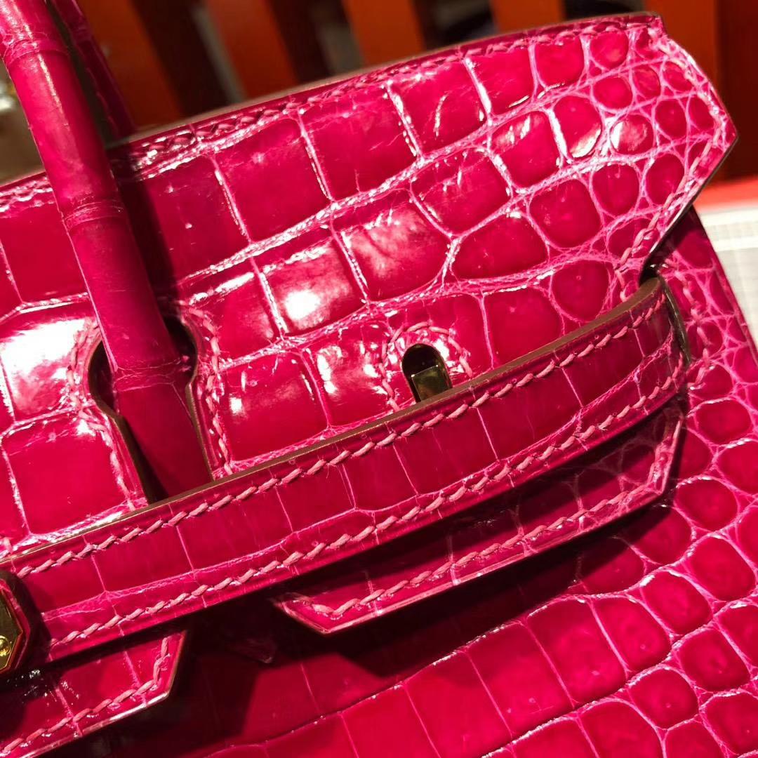 爱马仕鳄鱼皮女包 Hermes Birkin25CM 桃红紫亮面鳄鱼皮铂金包 金扣