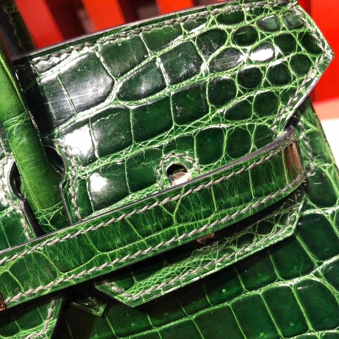 Hermes女包批发 爱马仕祖母绿法国尼罗鳄鱼皮Birkin25CM铂金包 金扣