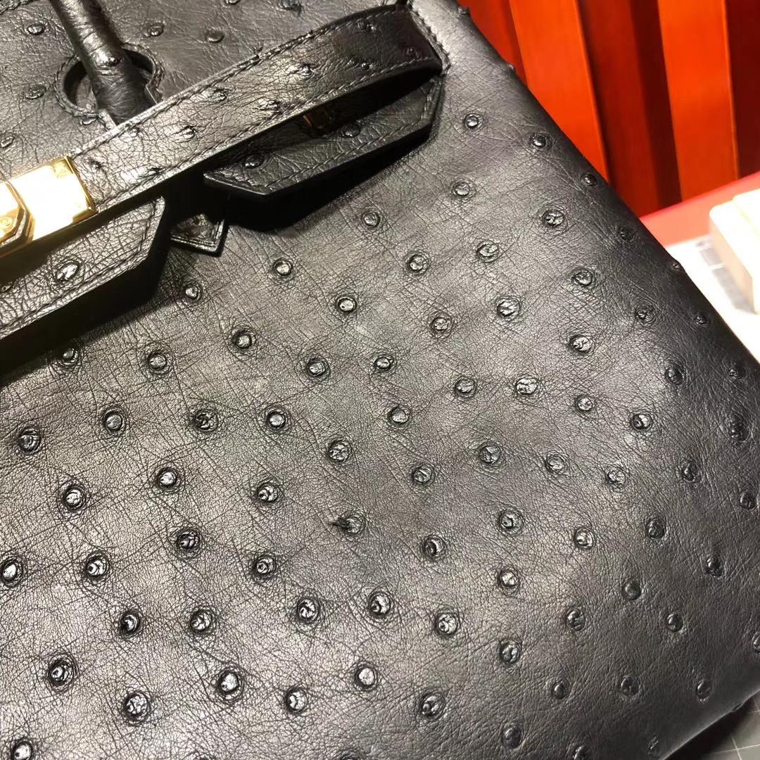 Hermes包包定做 爱马仕铂金包 89黑色顶级KK鸵鸟皮Birkin女包25CM 金扣