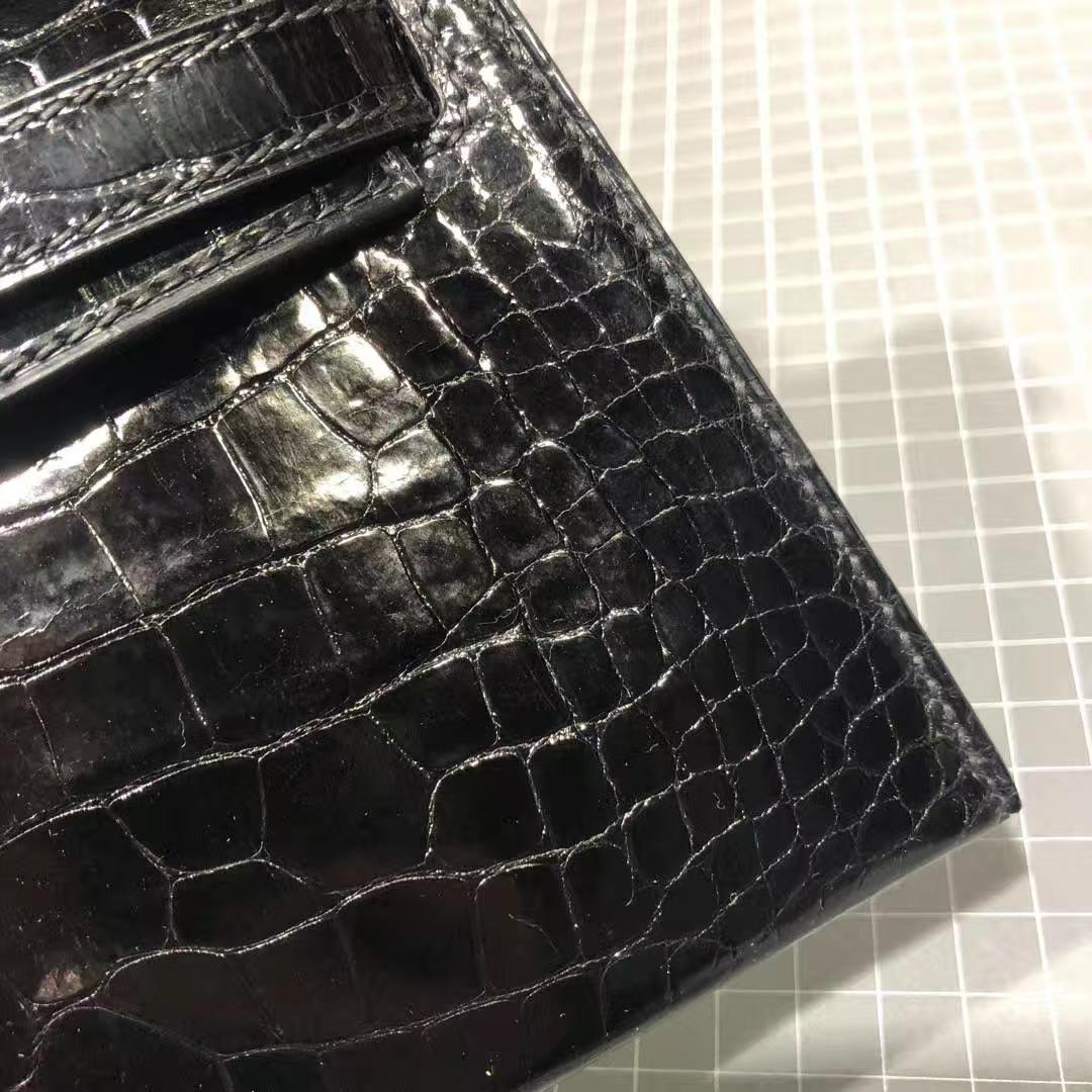 Hermes Minikelly2代 爱马仕黑色亮面美洲鳄鱼皮迷你凯莉包2代手包 银扣