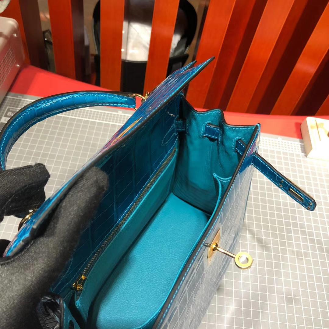 爱马仕凯莉包价格 Hermes水妖蓝法国Hcp尼罗鳄鱼皮Kelly包包25CM 金扣