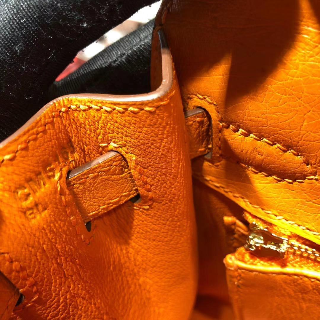 爱马仕凯莉包价格 Hermes Kelly25CM 亮黄色进口南非鸵鸟皮手提女包 金扣