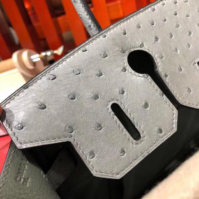 爱马仕新款铂金包 Hermes Birkin30CM 8F锡器灰南非顶级鸵鸟皮 金扣