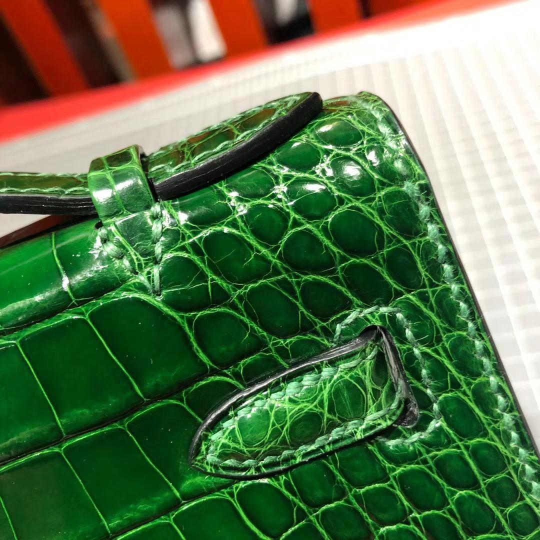 爱马仕迷你凯莉包 Hermes Minikelly22CM 祖母绿美洲鳄鱼皮手拿包 金扣