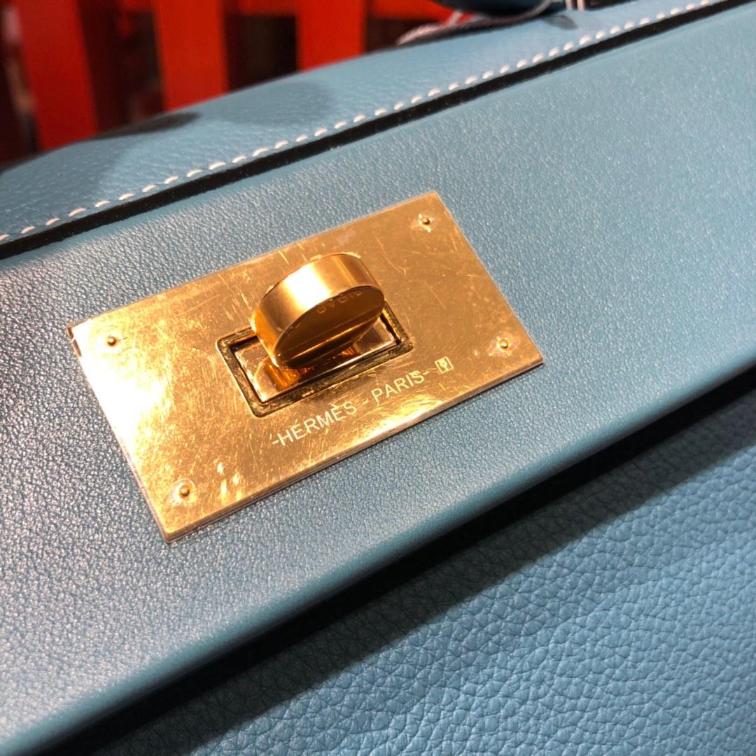 Hermes女包批发 爱马仕新款凯莉包24-24Kelly29CM 牛仔蓝进口Togo牛皮 金扣