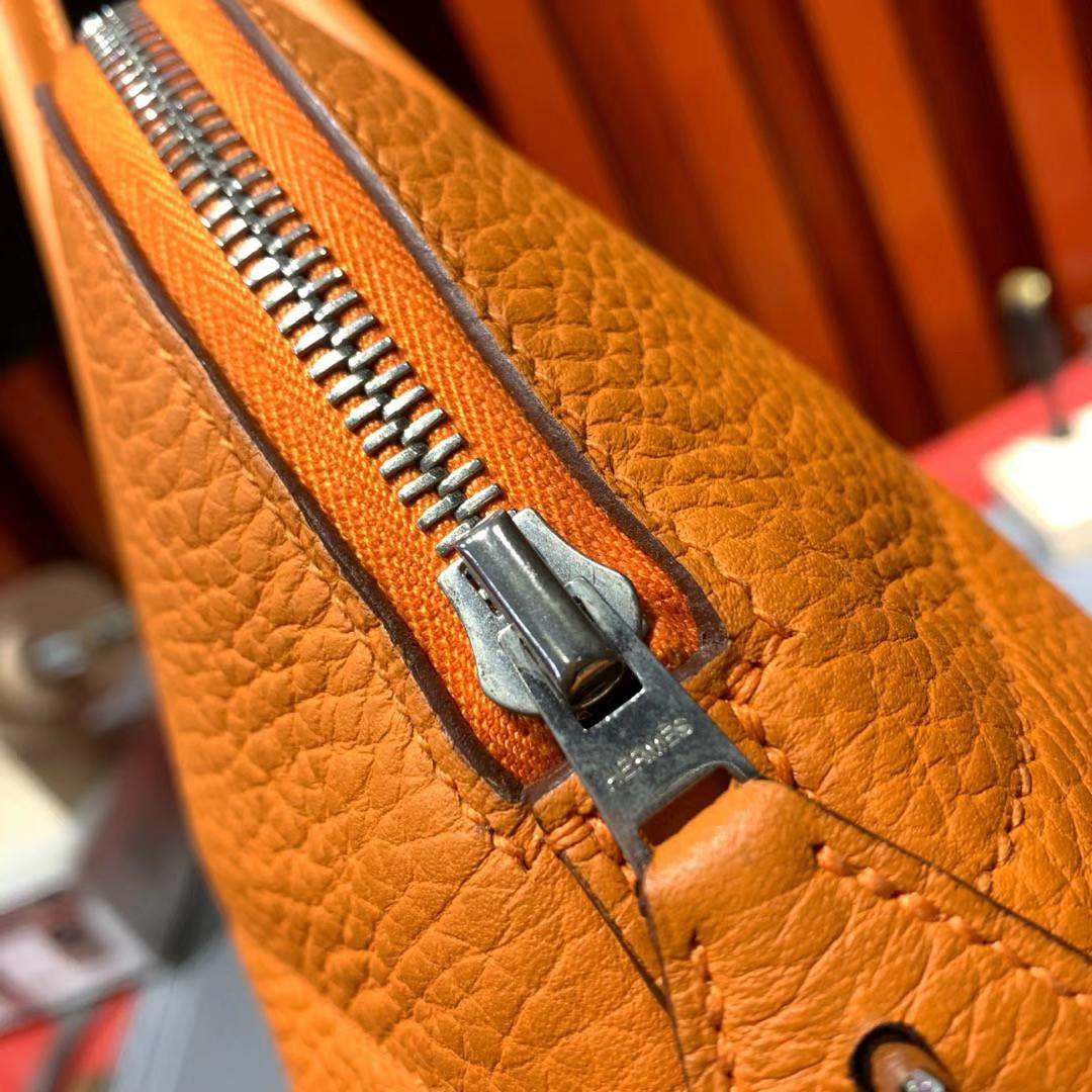 Hermes Bolide31CM 爱马仕93橙色Clemence牛皮保龄球包手提女包 银扣