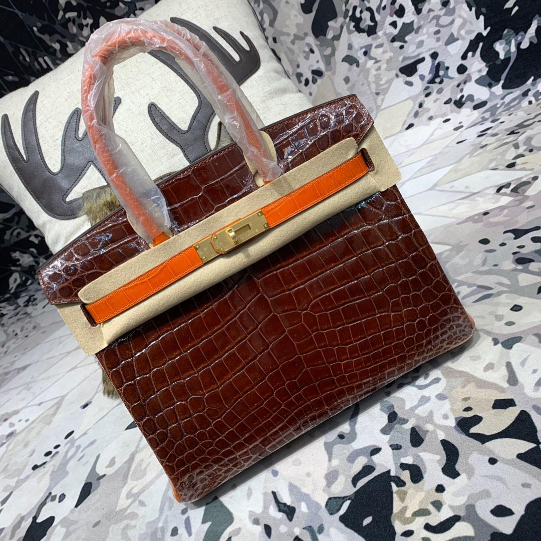 Hermes包包官网 爱马仕咖啡拼橙色亮光鳄鱼皮铂金包Birkin30CM 金扣