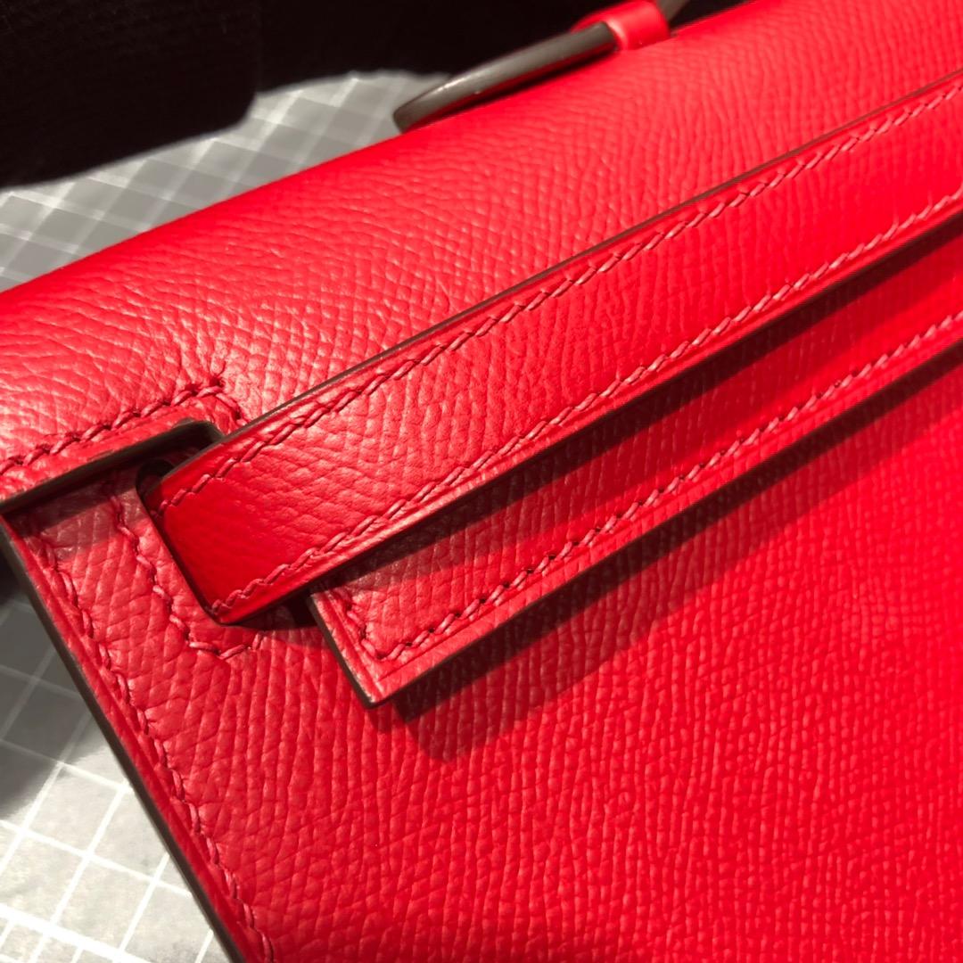 厂家直销 Hermes爱马仕顶级Epsom牛皮Kelly Cut晚宴手包 大红色银扣