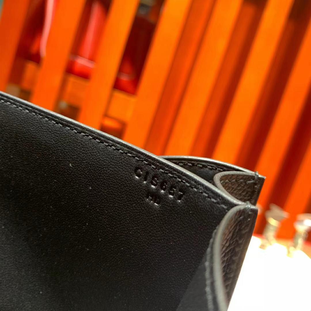 爱马仕空姐包尺寸 Hermes Constance19CM 89黑色掌纹牛皮康斯坦包 银扣