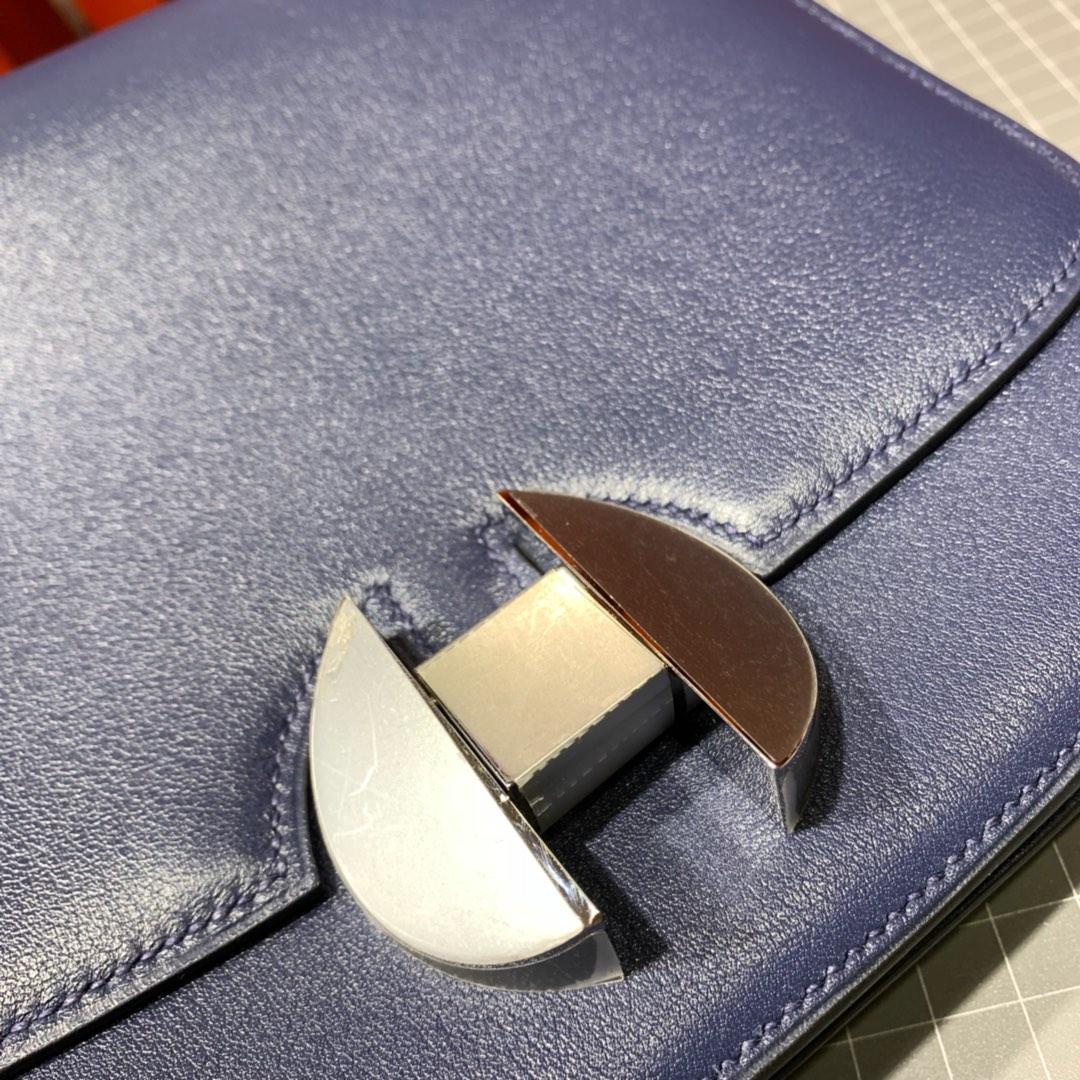 广州包包批发 Hermes爱马仕宝石蓝Evecolour牛皮新款空姐包20CM 银扣