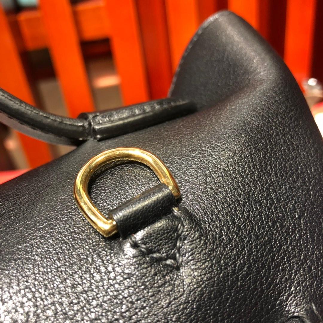 爱马仕新款凯莉包 Hermes 24-24Kelly29CM 黑色进口Swift牛皮手提包 金扣