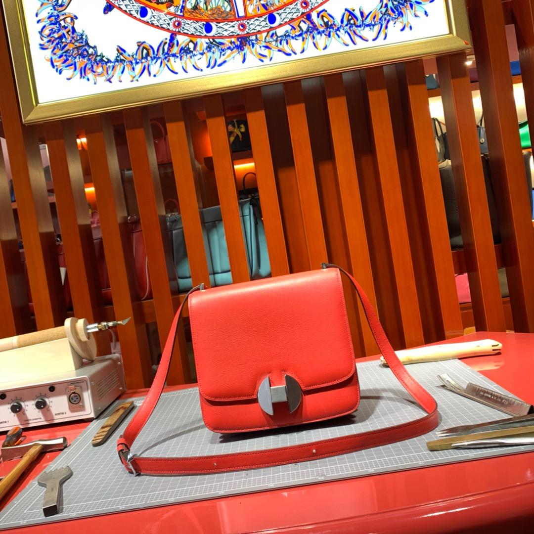Hermes包包官网 爱马仕番茄红色Evercolour牛皮新款空姐包20CM 银扣