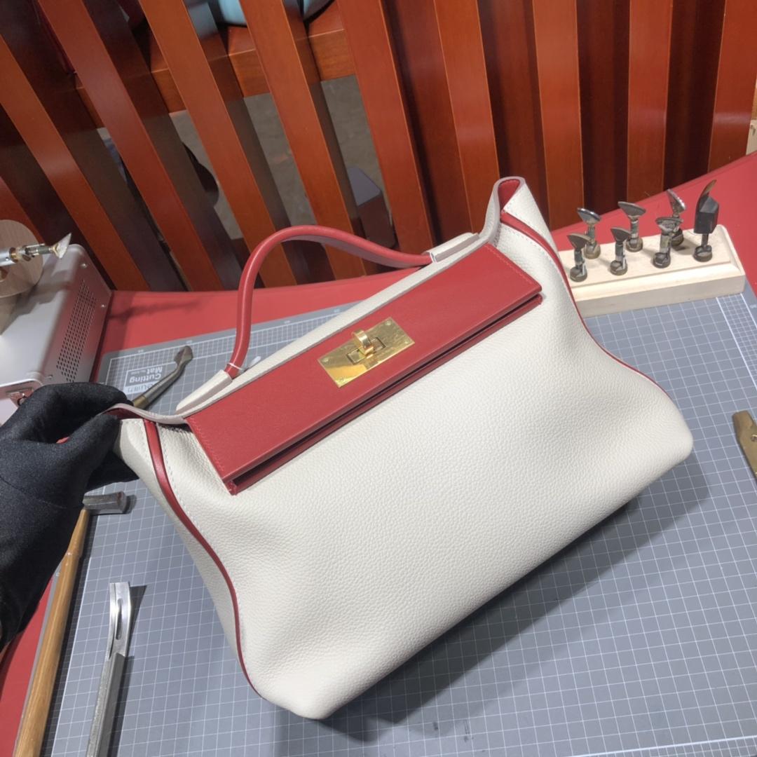 爱马仕新款女包 Hermes奶昔白拼红色拼色凯莉包24-24Kelly29CM 金扣