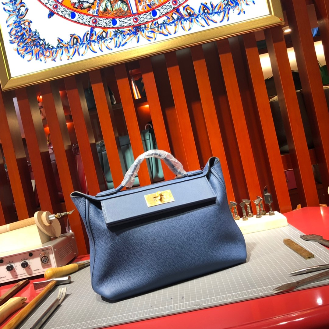 Hermes包包价格 爱马仕法国进口Togo牛皮Kelly24-24新款凯莉包 明蓝色 金扣
