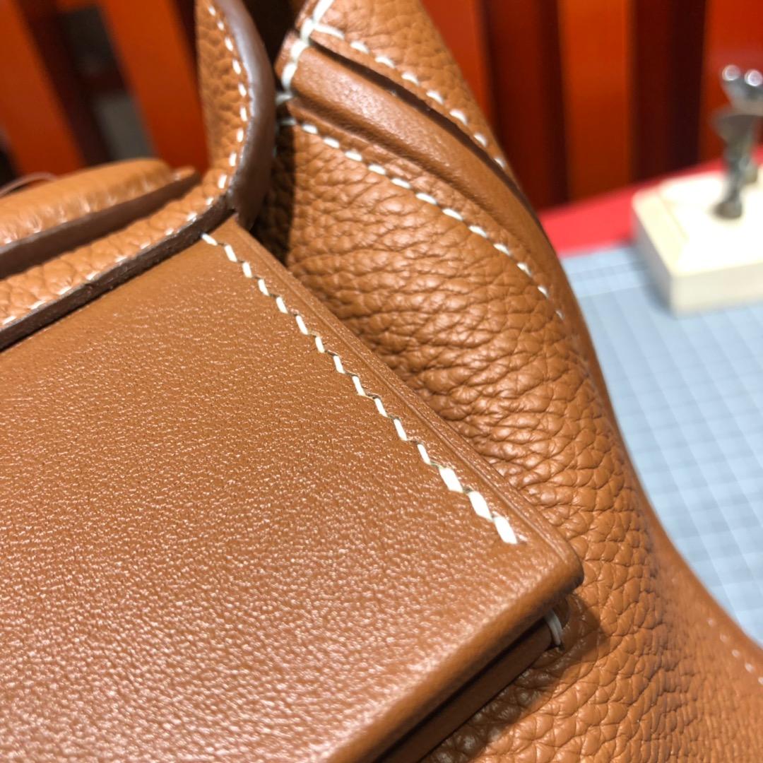 Hermes新款女包 爱马仕土黄色Taurillon maurice皮24-24Kelly新款凯莉包29CM 银扣