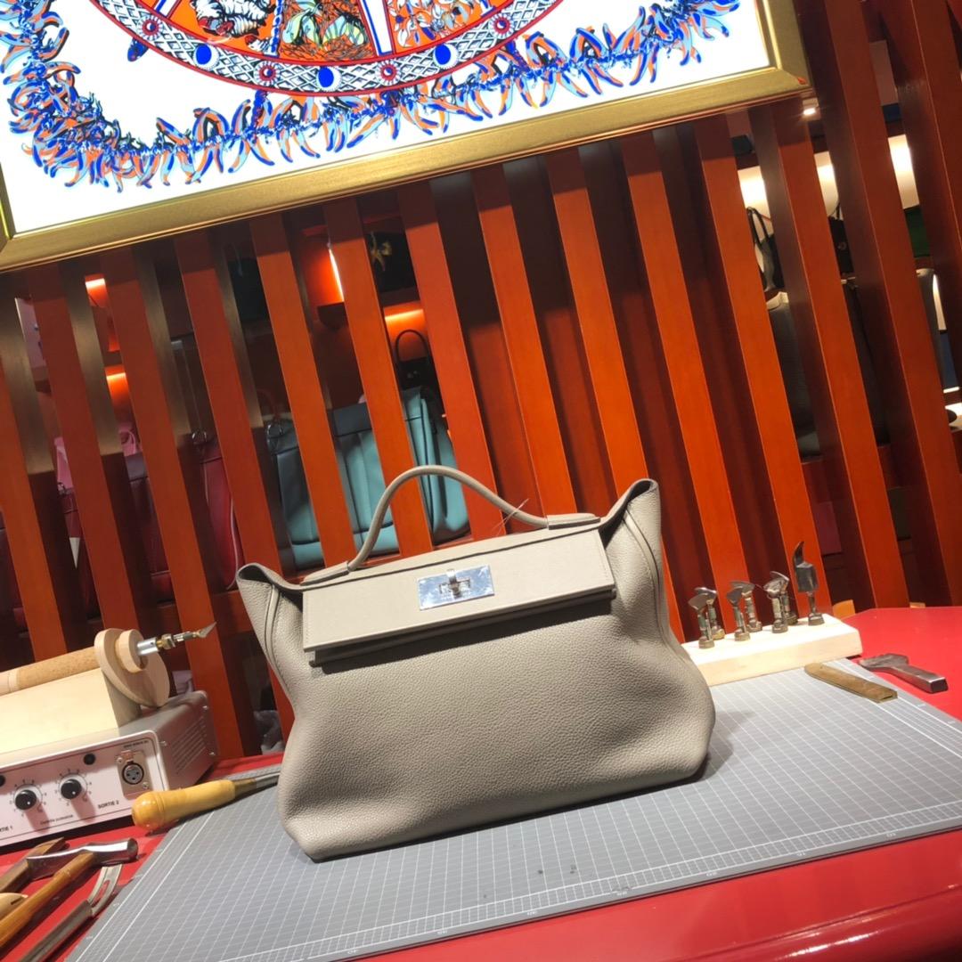 爱马仕包包价格 Hermes Kelly24-24 浅灰色进口Taurillon maurice皮凯莉包新款29CM 银扣