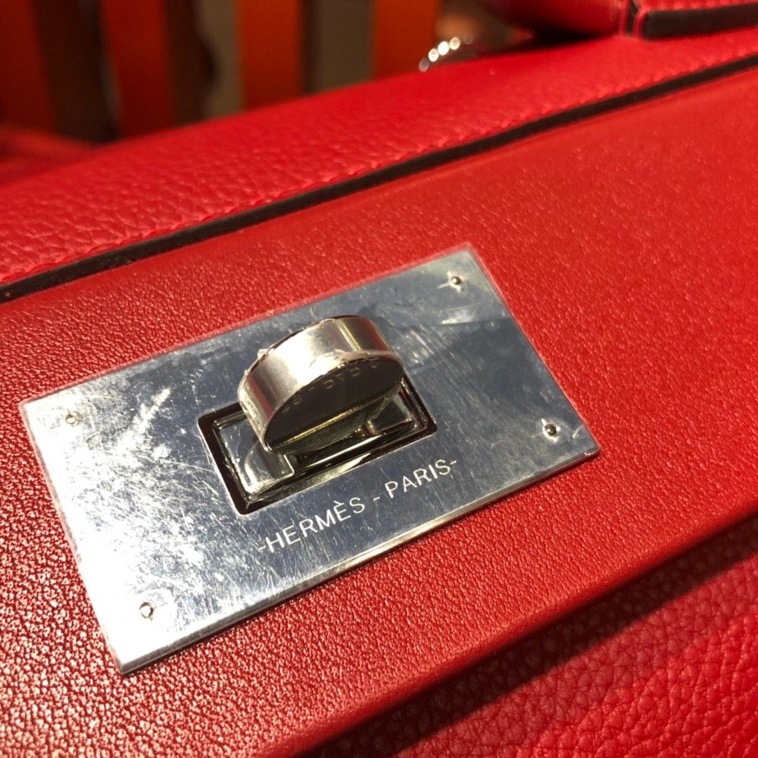 爱马仕凯莉包尺寸 Hermes Kelly24-24 中国红Togo小牛皮Kelly29CM 银扣