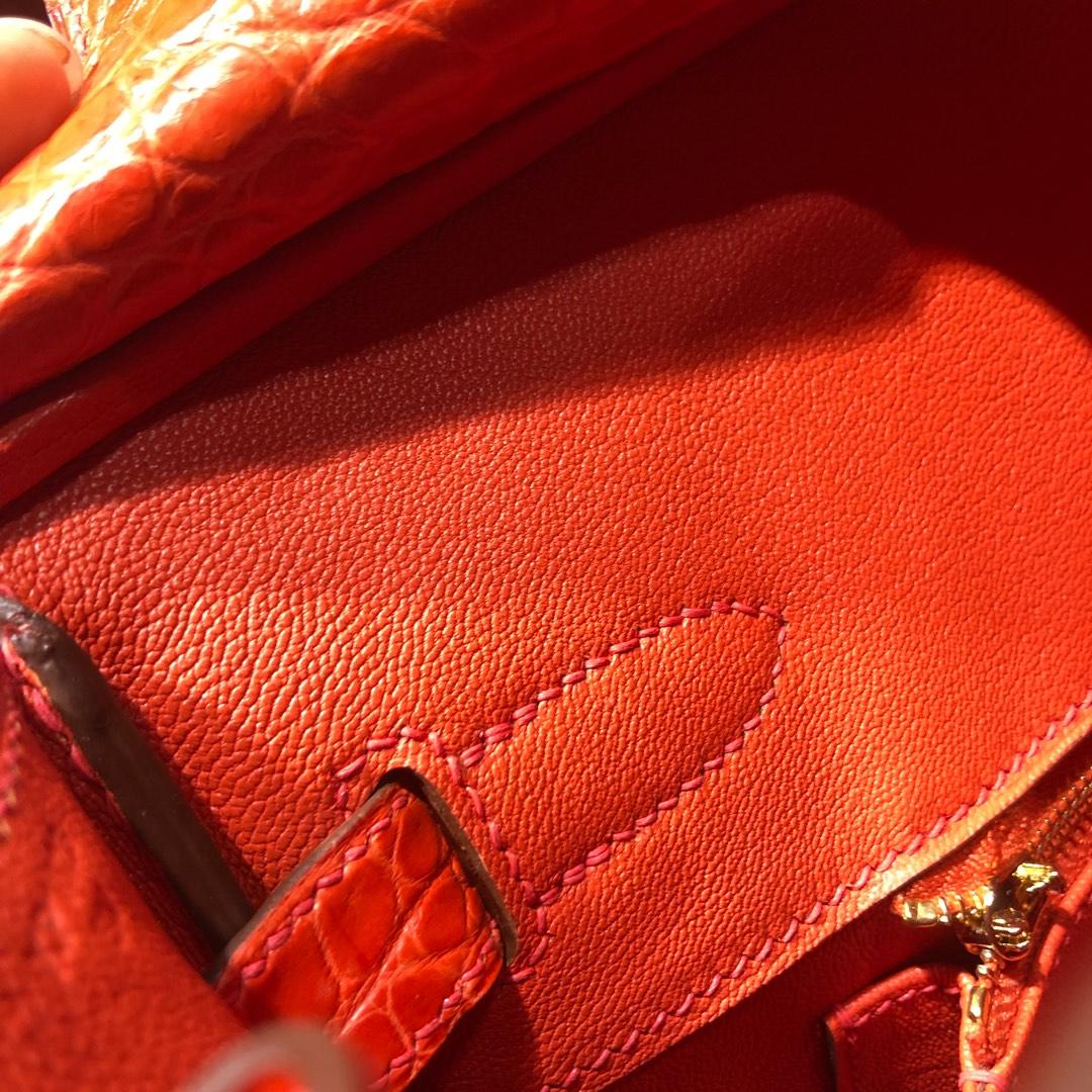 全手工缝制 Hermes爱马仕橙色雾面鳄鱼皮铂金包Birkin30CM 金扣