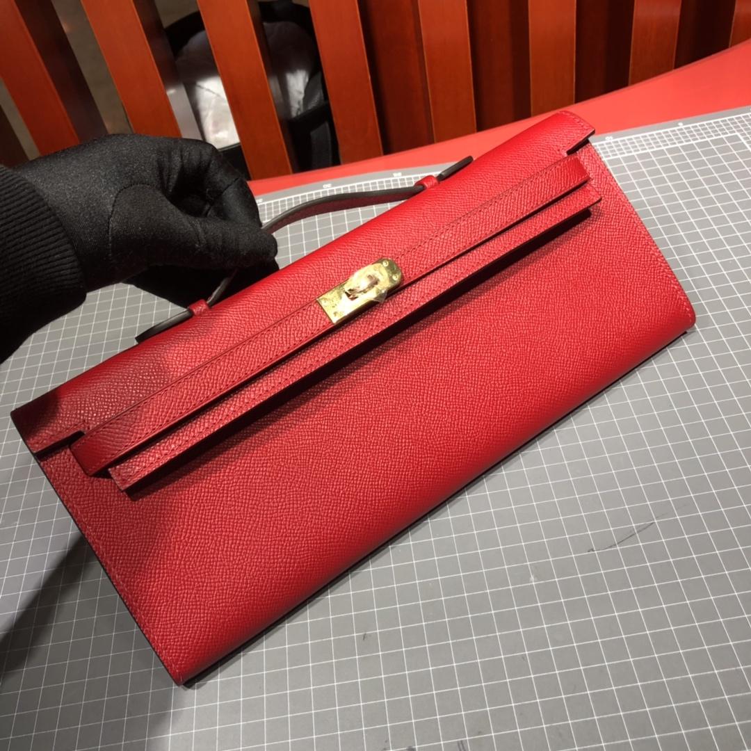 爱马仕钱包批发 Hermes Kelly Cut 大红色顶级掌纹牛皮手拿包晚宴包 金扣