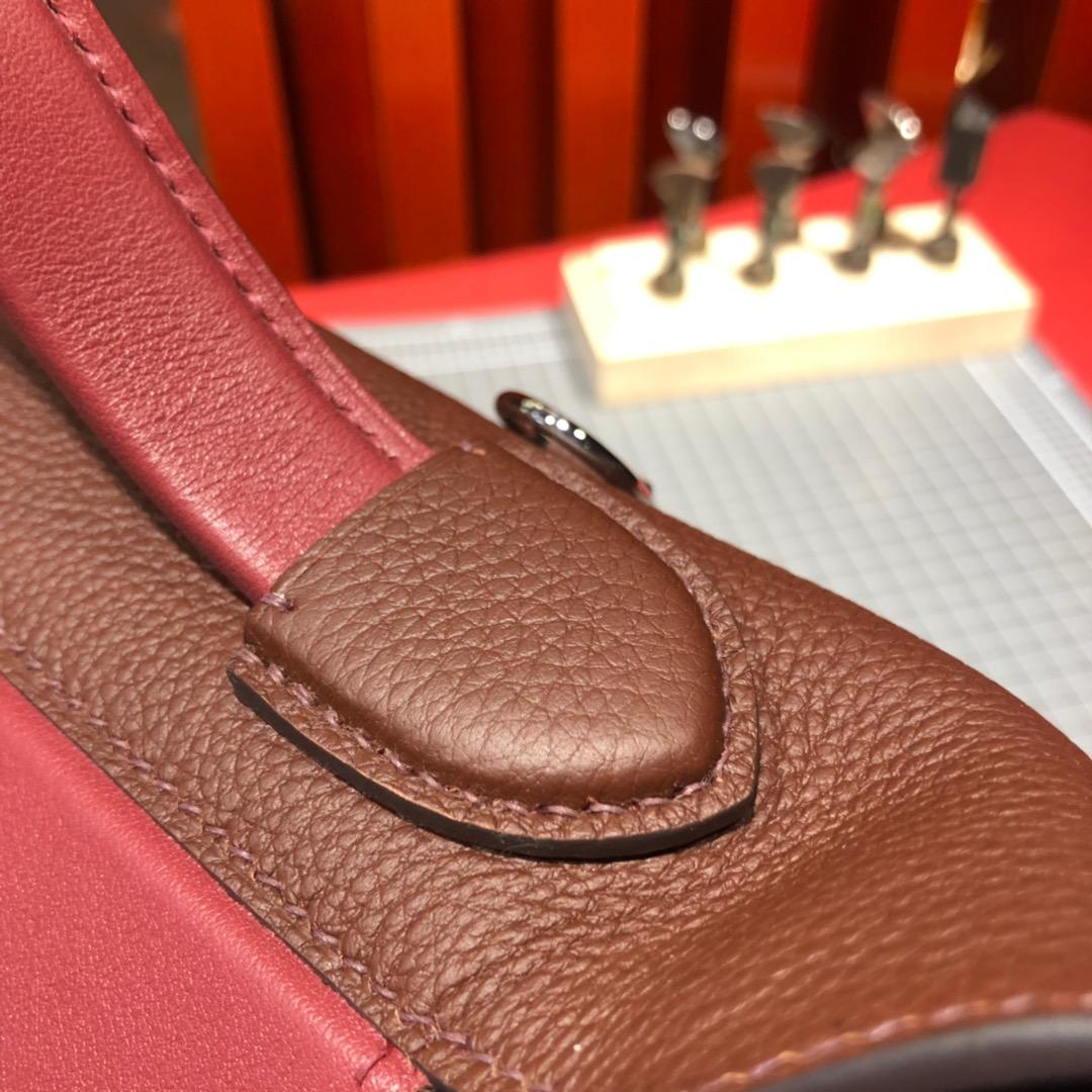 奢侈品包包 Hermes爱马仕赤红色法国Togo小牛皮24-24Kelly凯莉包新款29CM 银扣