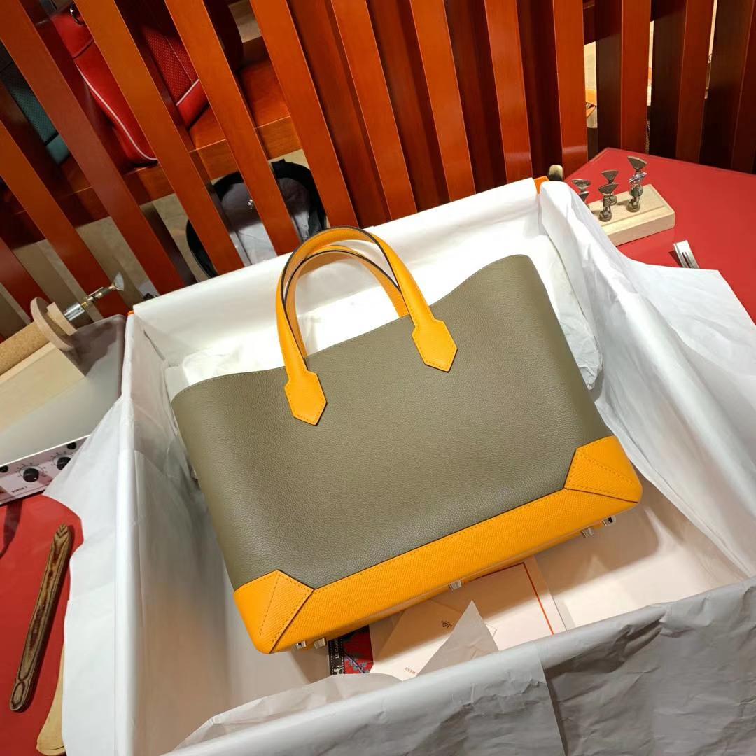 Hermes Maxibox Cabas 爱马仕8F锡器灰拼9V太阳黄手提包购物袋30CM