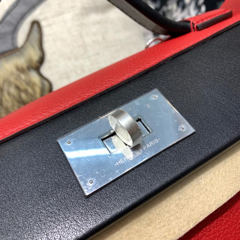 爱马仕新款女包 Hermes Kelly24-24 Q5中国红拼89黑色拼色手提包29CM 银扣