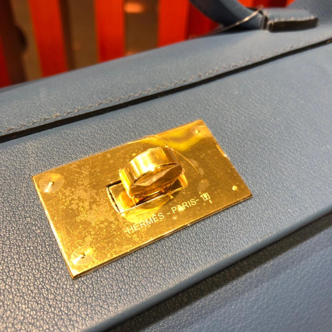Hermes包包官网 爱马仕明亮蓝色进口Swift牛皮24-24Kelly新款凯莉包29CM 金扣