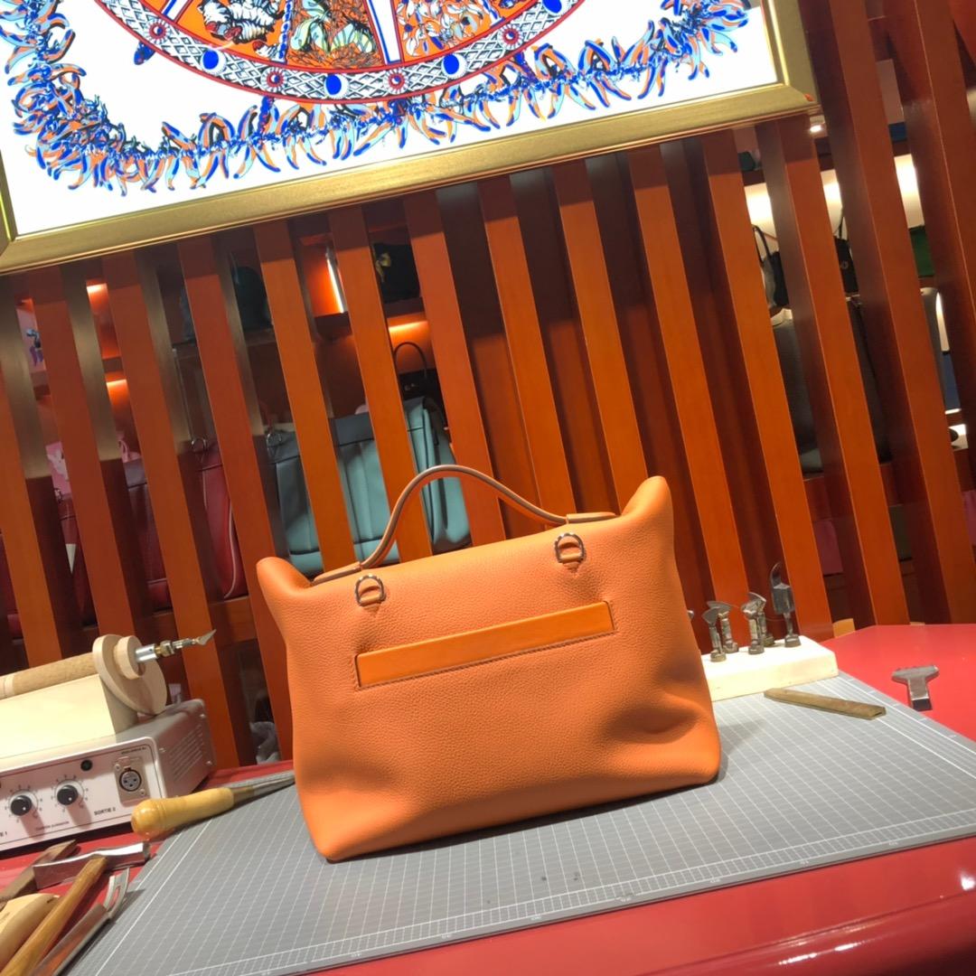 Hermes包包官网 爱马仕橙色法国Togo小牛皮新款凯莉包24-24Kelly29CM 银扣