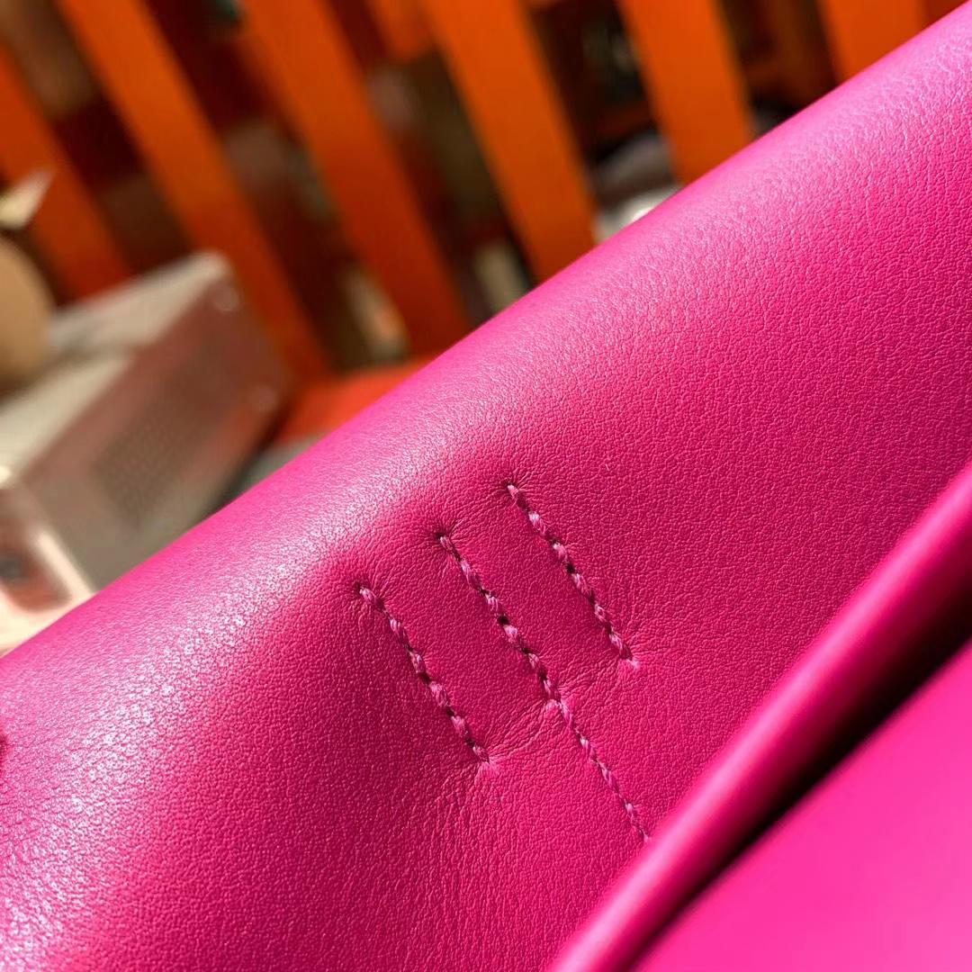 爱马仕新款女包 Hermes Mini Halzan22CM 原厂Swift牛皮 L3玫瑰紫 银扣