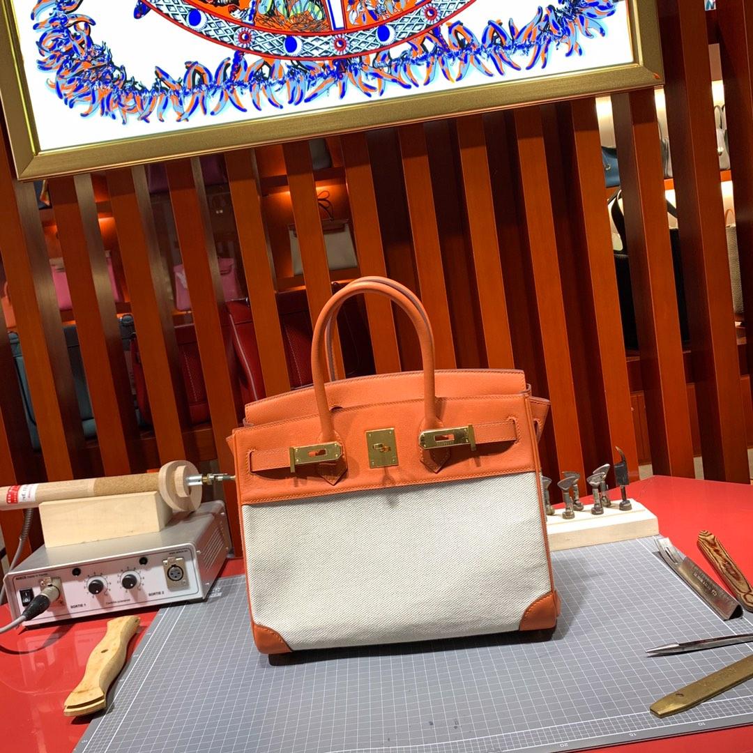 爱马仕拼色铂金包 Hermes橙色牛皮拼帆布双拼蕾丝铂金包Birkin30cm 金扣