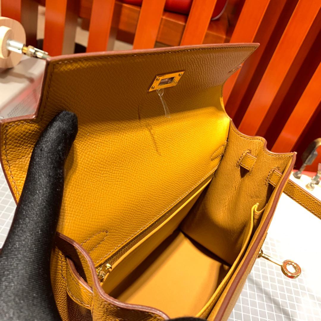 爱马仕Kelly包包 Hermes顶级Epsom牛皮凯莉包Kelly25CM 金棕色 金扣