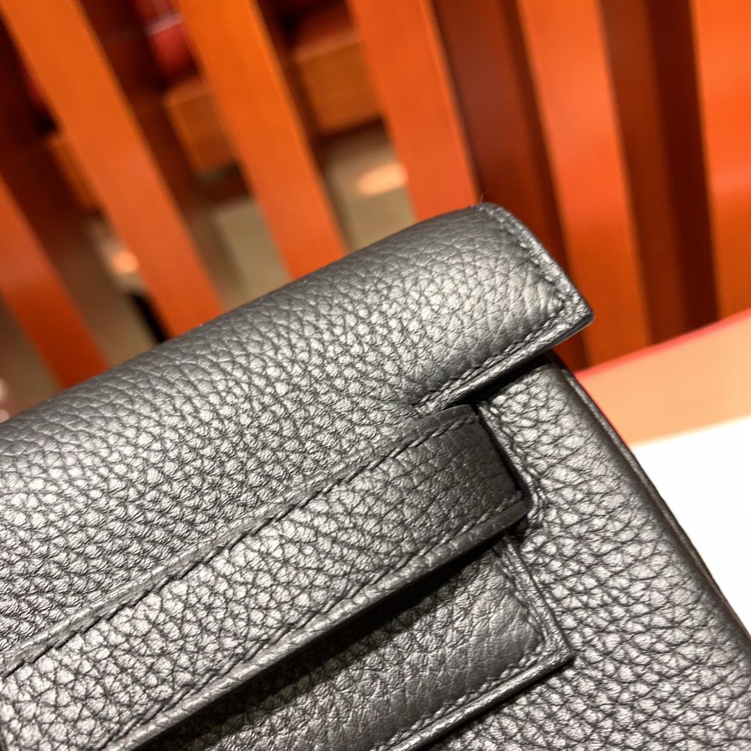 爱马仕新款女包 Hermes Kelly ado20CM 黑色进口Togo皮双肩包后背包 银扣