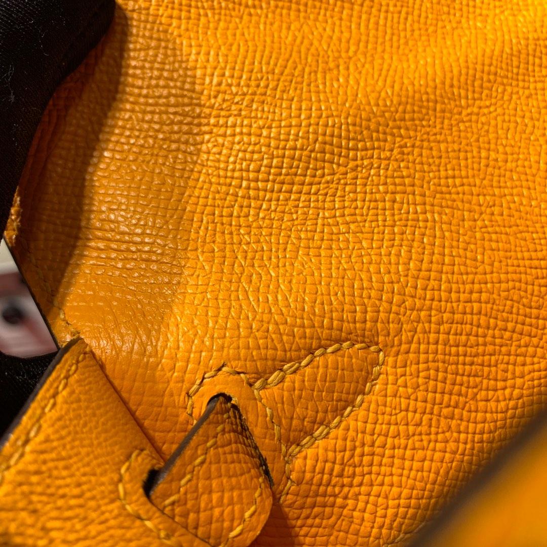 爱马仕包包官网 Hermes进口Epsom牛皮凯莉包Kelly25CM 太阳黄 金扣