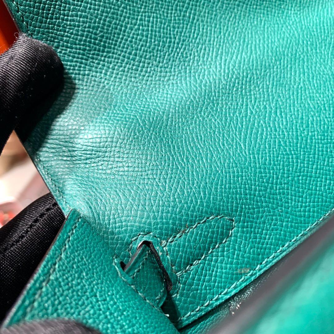 Hermes包包官网 爱马仕孔雀绿顶级手掌纹牛皮凯莉包Kelly25CM 银扣