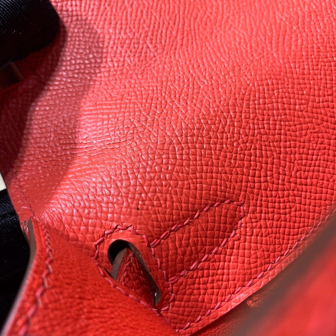 爱马仕凯莉包价格 Hermes Kelly25CM 橙色顶级手掌纹牛皮 金扣