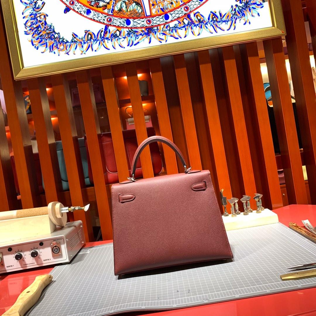 Hermes包包价格 爱马仕顶级Epsom牛皮凯莉包Kelly25CM 酒红 银扣