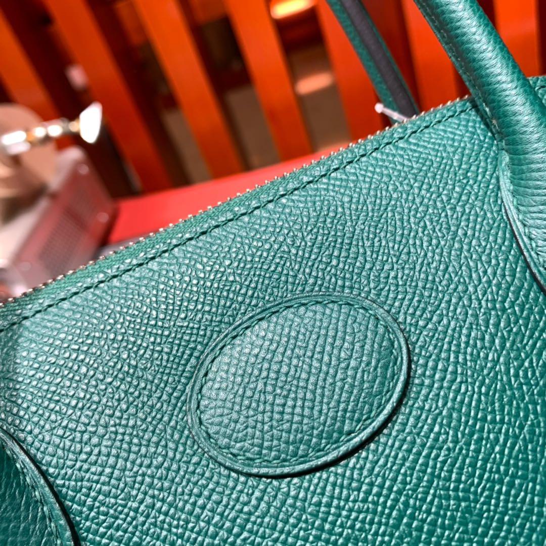 Hermes Bolide27CM 爱马仕孔雀绿进口掌纹牛皮保龄球包手提女包 银扣