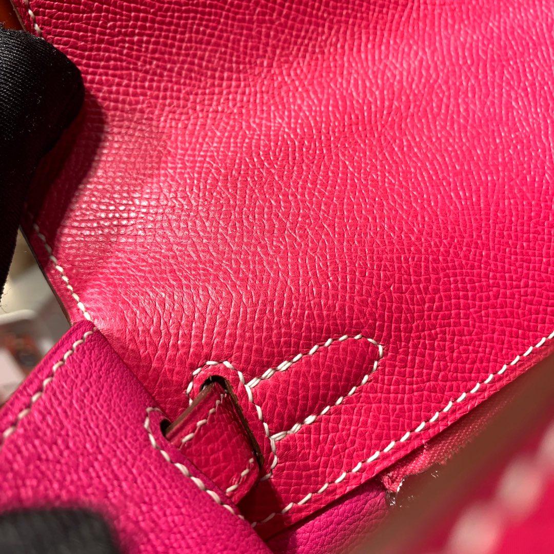 Hermes包包官网 爱马仕顶级十字纹牛皮Kelly25CM凯莉包 玫红 银扣