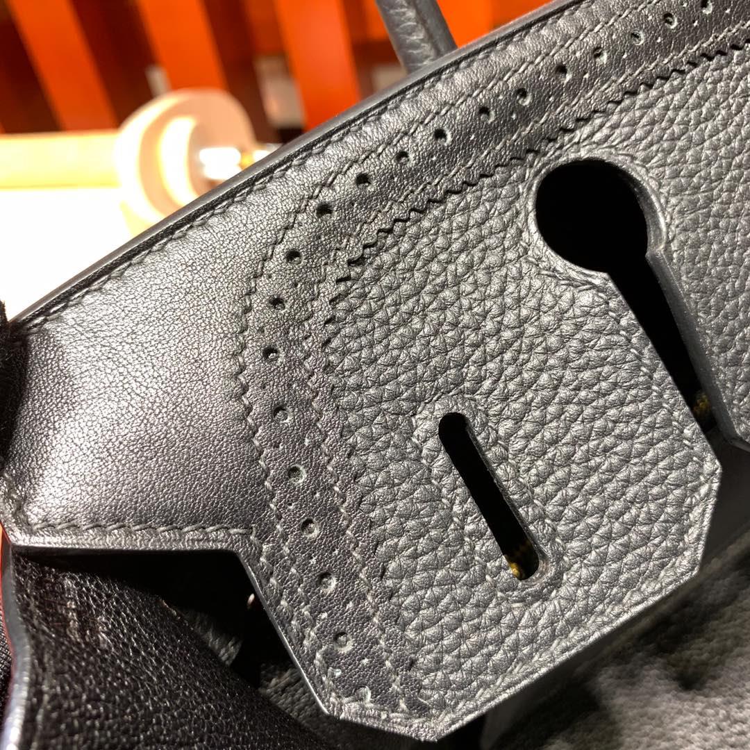Hermes新款女包 爱马仕89黑色Togo皮拼Swift牛皮蕾丝铂金包Birkin30CM 金扣
