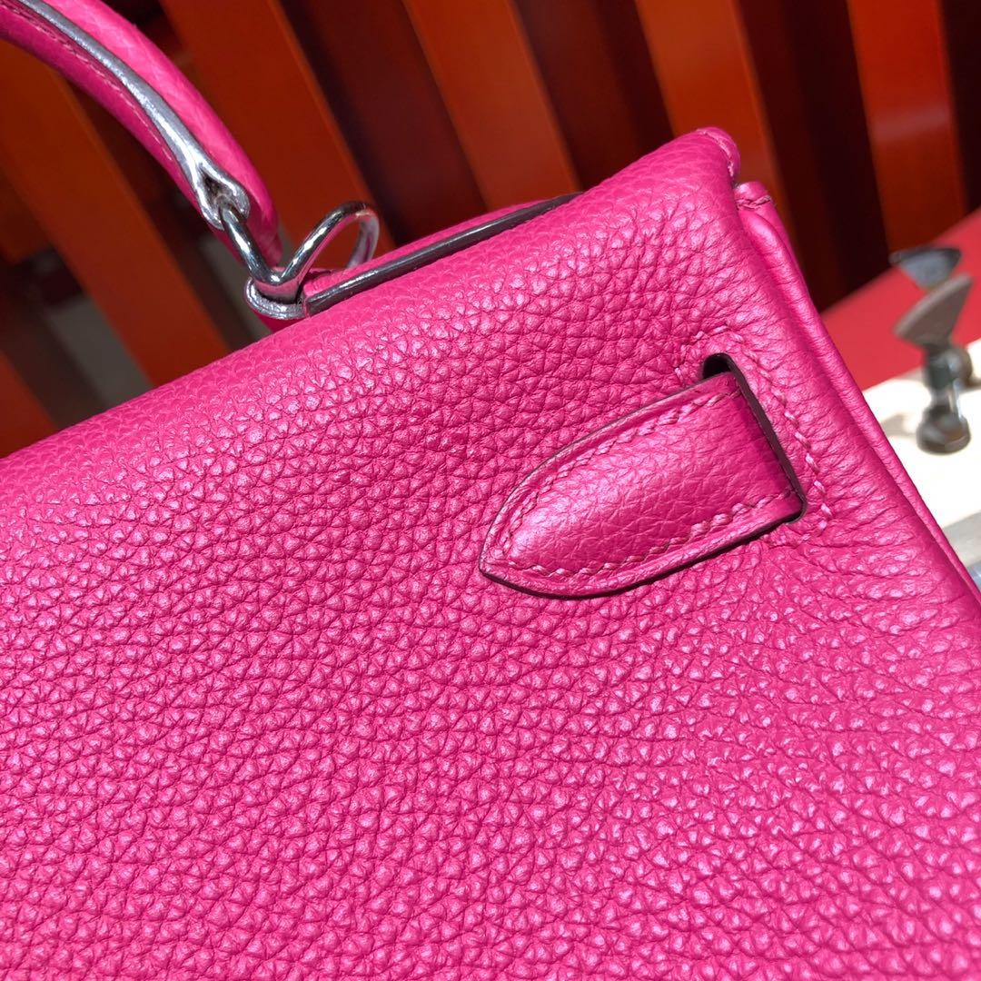 爱马仕包包价格 Hermes Kelly28CM 桃红色凯莉包进口顶级Togo荔枝纹牛皮 银扣